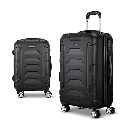 2PCS Carry On Luggage Sets Suitcase TSA Travel Hard Case Lightweight Black