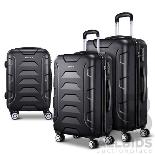 3PCS Carry On Luggage Sets Suitcase TSA Travel Hard Case Lightweight Black