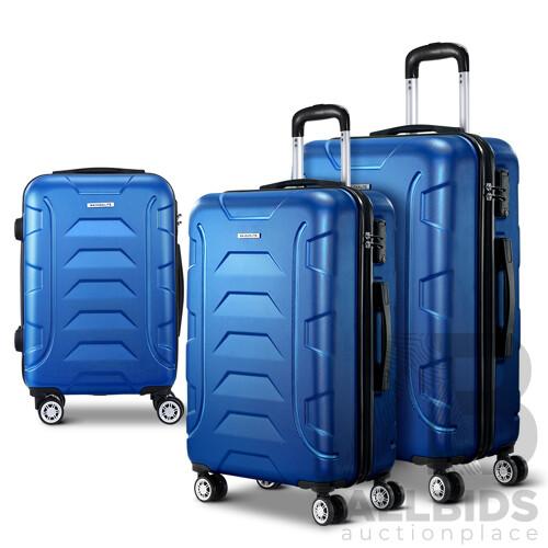 3PCS Carry On Luggage Sets Suitcase TSA Travel Hard Case Lightweight Blue