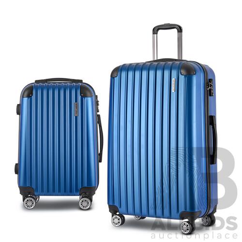 2PCS Carry On Luggage Sets Suitcase Travel Hard Case Lightweight Blue