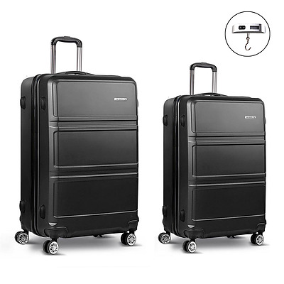 2 Piece Lightweight Hard Suit Case Luggage Black
