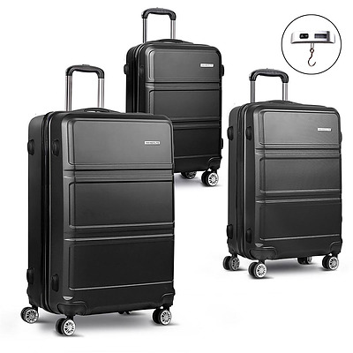 Wanderlite 3 Piece Lightweight Hard Suit Case Luggage Black  - Free Shipping