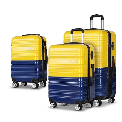 3 Piece Lightweight Hard Suit Case Luggage Yellow & Purple - Brand New - Free Shipping