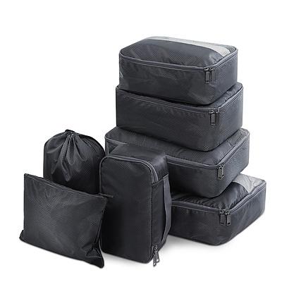 7PCS Dark Grey Packing Cubes Travel Luggage Organiser Suitcase Storage Bag - Brand New - Free Shipping