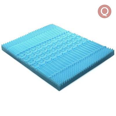 Queen Size 8cm Cool Gel Mattress Topper - Blue - Free Shipping