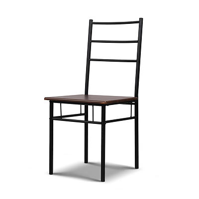 Metal Frame Table and Chairs - Walnut & Black - Free Shipping