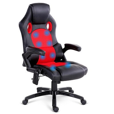8 Point Massage Racer PU Leather Office Chair Black Red - Free Shipping