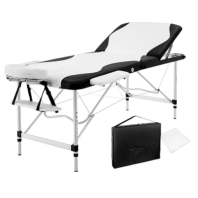 3 Fold Portable Aluminium Massage Table - Black & White - Brand New - Free Shipping
