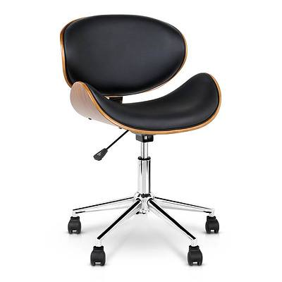 Wooden  & Leather Office Chair - Black - Free Shipping