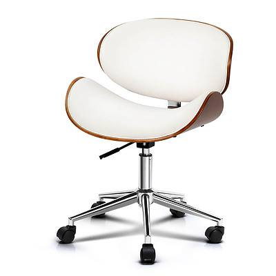 Wooden  & Leather Office Chair - White - Brand New - Free Shipping