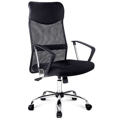PU Leather Mesh High Back Office Chair - Black - Free Shipping