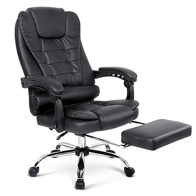 PU Leather Reclining Chair with Footrest - Black - Free Shipping