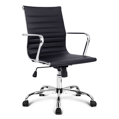Replica Eames PU Leather Low Back Office Chair - Black - Brand New - Free Shipping