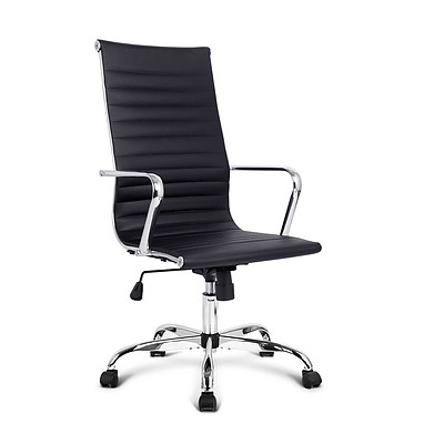 PU Leather High Back Office Chair - Black - Free Shipping