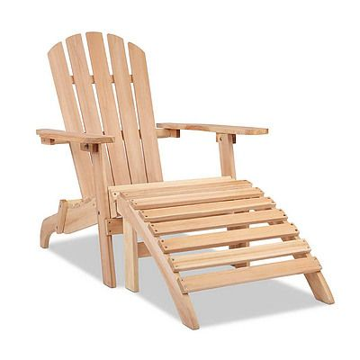 Outdoor Foldable Wooden Lounge Chair and Ottoman- Natural Wood - Free Shipping