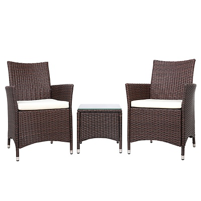 3-piece Outdoor Chair and Table Set Brown - Brand New - Free Shipping