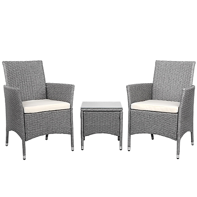 3-piece Outdoor Chair and Table Set Grey - Free Shipping