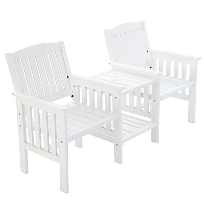 Garden Bench Chair Table Loveseat Wooden Outdoor Furniture Patio Park White - Brand New - Free Shipping
