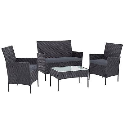 Outdoor Furniture Wicker Set Chair Table Dark Grey 4pc