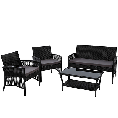 Outdoor Furniture Rattan Set Wicker Cushion 4pc Black
