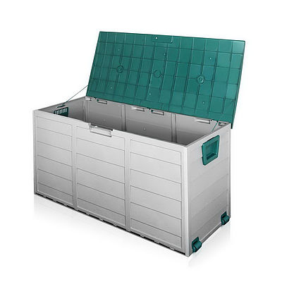 290L Plastic Outdoor Storage Box Container Weatherproof Grey Green - Free Shipping
