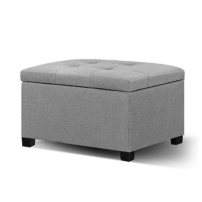 Storage Ottoman Blanket Box Linen Foot Stool Chest Couch Bench Toy Grey - Brand New - Free Shipping
