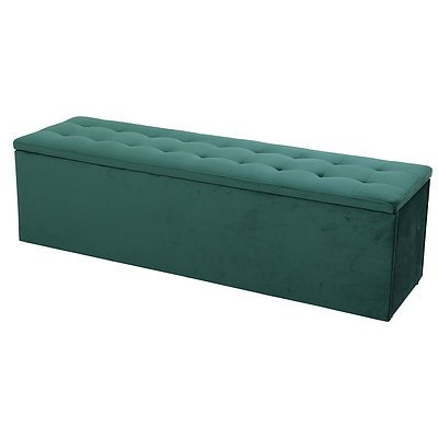 Storage Ottoman Blanket Box Velvet Foot Stool Rest Chest Couch Green - Brand New - Free Shipping