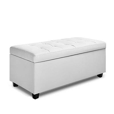 Large Ottoman PU Leather Chest Storage Box Foot Stool White - Brand New - Free Shipping