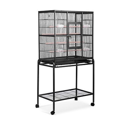 Pet Parrot Aviary Bird Cage with Wheels Stand 160cm Black - Brand New - Free Shipping