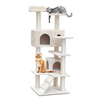 134cm Multi Level Cat Scratching Tree Post - Beige - Free Shipping