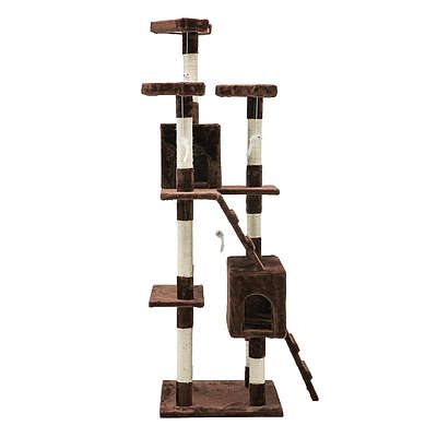 180cm Multi Level Cat Condo Scratching Tree Post - Brown - Free Shipping