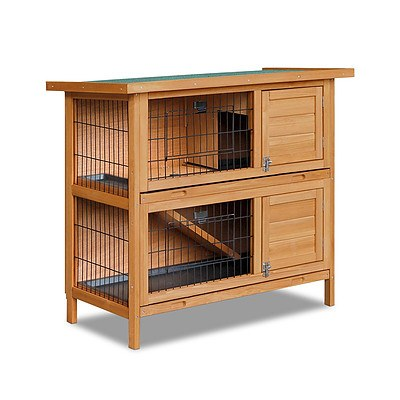 Double Storey Rabbit Hutch with Foldable Ramp - Free Shipping