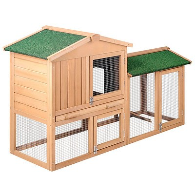 Rabbit Hutch Chicken Coop Cage Guinea Pig Ferret House w/ 2 Storeys Run - Free Shipping