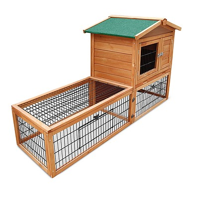 Wooden Rabbit Chicken Guinea Pig Hutch with Tray - Free Shipping