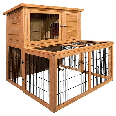 Deluxe Rabbit Cage Hutch w/ Under-Run - Free Shipping