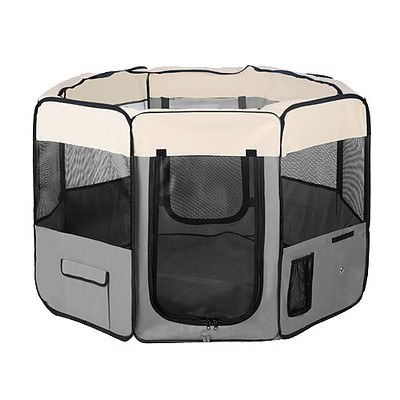 Pet Dog Puppy Cat Exercise Playpen Crate Cage Tent Grey - Brand New - Free Shipping