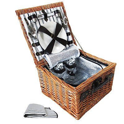 Alfresco 2 Person Picnic Basket Baskets Deluxe Outdoor Corporate Blanket Park - Brand New - Free Shipping