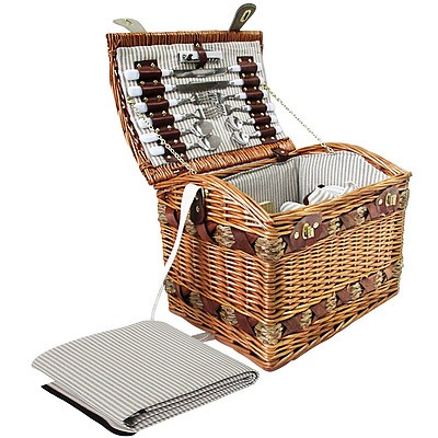 4 Person Picnic Basket Set with Cheese Board Blanket - Brand New - Free Shipping