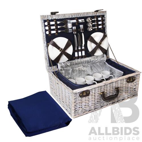 6-Person Picnic Basket Cooler Bag Wicker PU Fastening Straps Plates