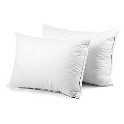 Set of 2 Goose Feather and Duck Down Pillow - White - Free Shipping