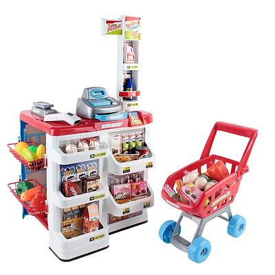 Supermarket Pretend Play Set Red White - Free Shipping