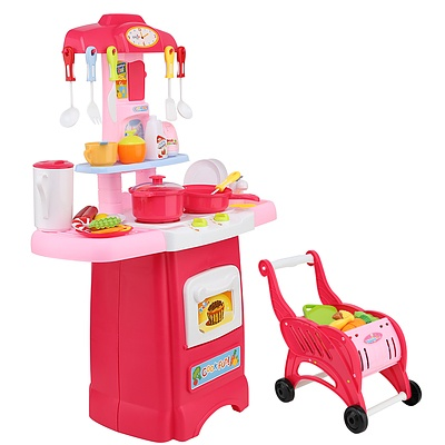 Keezi Kids Kitchen and Trolley Playset - Red - Free Shipping
