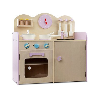 7 Piece Kids Pretend Play Wooden Kitchen Play Set - Natural & Pink - Free Shipping