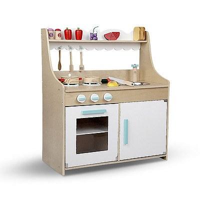 Keezi Kids Wooden Kitchen Play Set - Natural & White