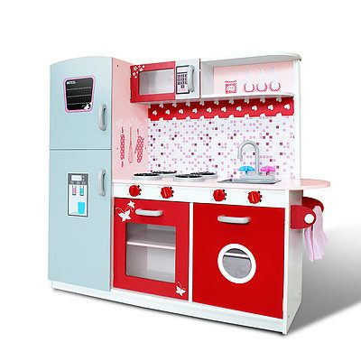 Children Wooden Kitchen Play Set with Fridge Pink - Brand New - Free Shipping