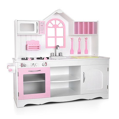 Kids Pretend Play Wooden Kitchen Play Set - White & Pink - Free Shipping