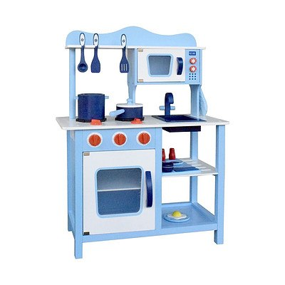 Children Wooden Kitchen Play Set Blue - Brand New - Free Shipping