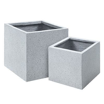 2X Plant Pots Plants Pot Stone Large Garden Indoor Outdoor Flower Planters Decor Grey Square