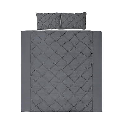 Giselle Bedding Super King Quilt Cover Set - Charcoal - Free Shipping
