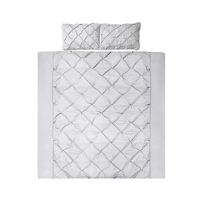 Giselle Bedding Super King Size Quilt Cover Set - Grey - Free Shipping